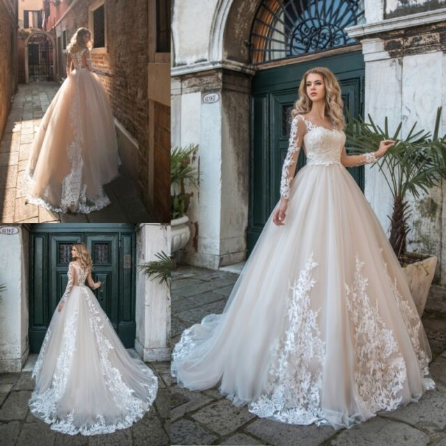 b409a3d765e2 Mermaid Champagne Wedding Dresses Bridal Gowns Long Sleeves Appliques Lace  2019 for sale online | eBay