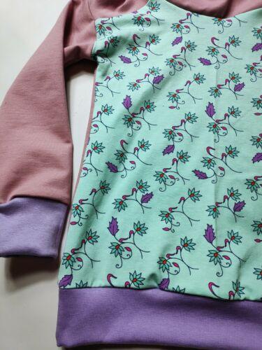 selbst genäht,rosa und mint mit Blumen Hoodie Blumenranke Kapuzenshirt