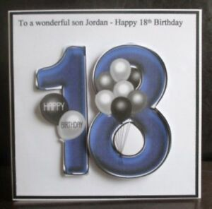 Image Is Loading Personalised Handmade Balloons 18th Birthday Card Son Grandson