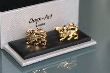 Cufflinks - Gold Lion Crest Design * New * Gift