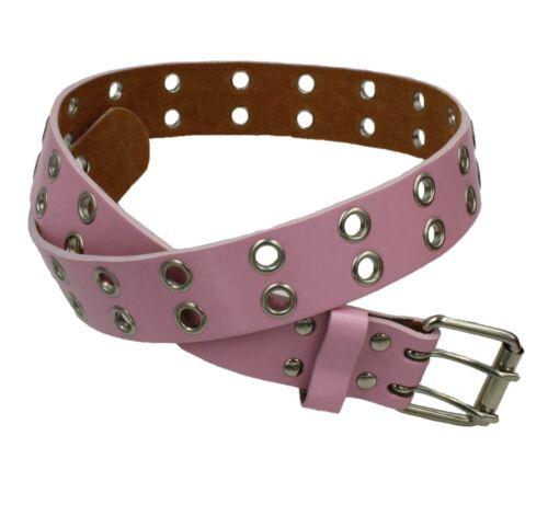 Men Women Unisex 2 Row Grommet Bonded Leather Belt with Metal Buckle B-106