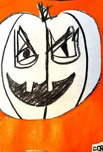 IMPRESSIONIST PUMPKIN PAINTING PORTRAIT HALLOWEEN ORIGINAL MODERN WALL FINE ART