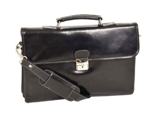 Mens Real BLACK Leather Slimline Briefcase Office Executive Shoulder Satchel Bag
