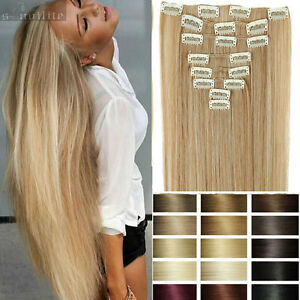 Women-Clip-in-Natural-Hair-Extensions-Real-as-remy-human-Hair-Black-Brown-HG17