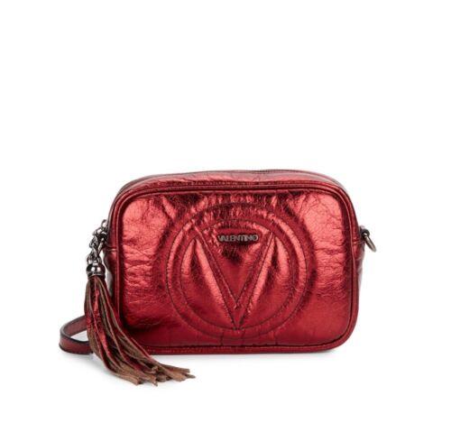 Valentino Metallic Leather Mini Crossbody Marsala