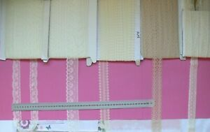 Flat-Poly-CREAM-IVORY-amp-BUFF-Lace-25-42mm-Wide-Mixed-Lengths-5Style-Choice-FLT6