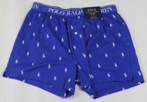 Ralph Lauren Stretch Cotton Knit Blue Boxer Shorts NWT