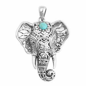 Boho-Sterling-Silver-Elephant-Vintage-Turquoise-Necklace-Pendant-Chain