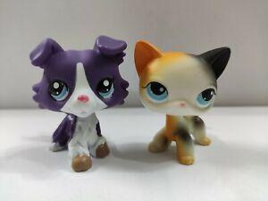 2pcs Littlest Pet Shop LPS#363#106 Grey Collie Dog Shorthair Cat toy