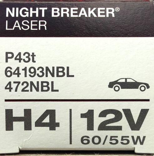 Osram Night Braker Láser H4 12V 60//55W P43t Bombilla de Faro Halógena 64193NBL