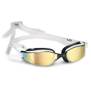 Michael-Phelps-Xceed-Swim-Goggles-Titanium-mirror-lens-White-Black-Frame
