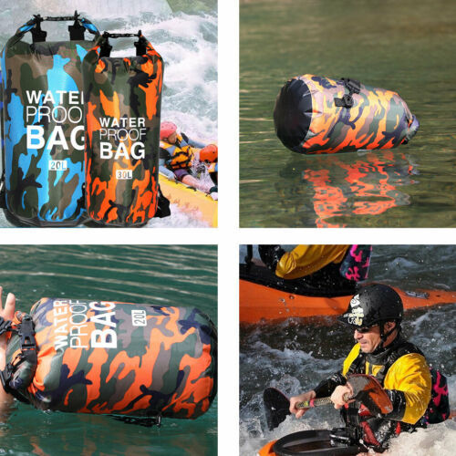 PVC Waterproof Dry Bag 2L 5L 10L 20L 30L Camo Outdoor Diving Foldable Man Women