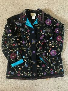 THE-QUACKER-FACTORY-Beaded-Embroidered-Black-Jacket-Butterflies-Flowers-Size-M
