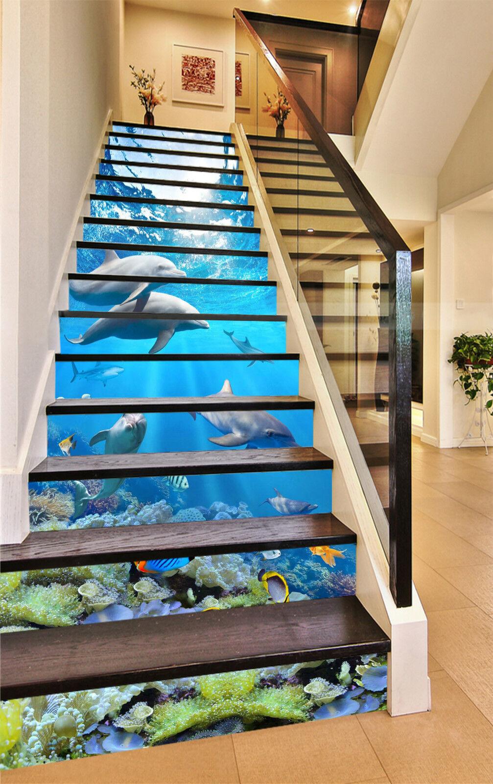 3D Delphin Ozean 90 Stair Risers Dekoration Fototapete Vinyl Aufkleber Tapete DE