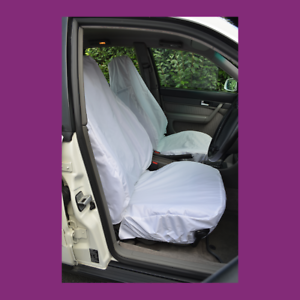 Front Car Van White Waterproof LARGE Universal Airbag Compatible Seat Covers