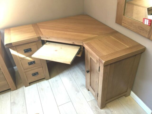 Solid Oak Corner Computer Desk Free Delivery