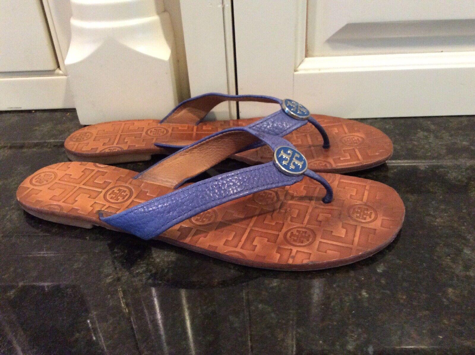 Tory Burch Periwinkle bluee Leather Flip Flops, Size 8 M. Nice