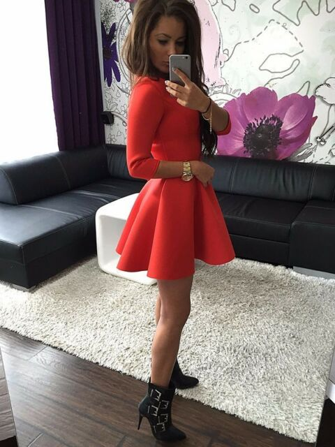 New Sexy Women Casual Long Sleeve Party Evening Cocktail Short Mini Dress Skater