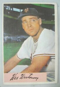 Details About 1954 Bowman Baseball Card 25 Wes Westrum Catcher New York Giants