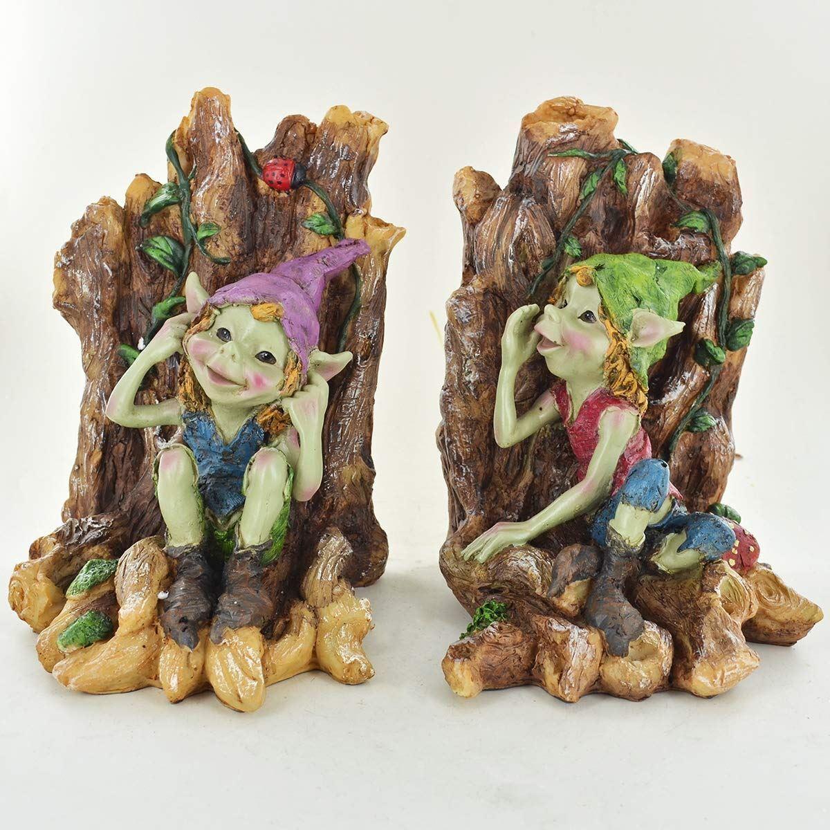 Novedad Pixie Sujetalibros Fantasy elfos esculturas para jardines de hadas Estante ordenado