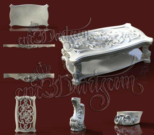 6 3D STL Models Scroll Table CNC Router Carving Machine Artcam aspire Cut3D
