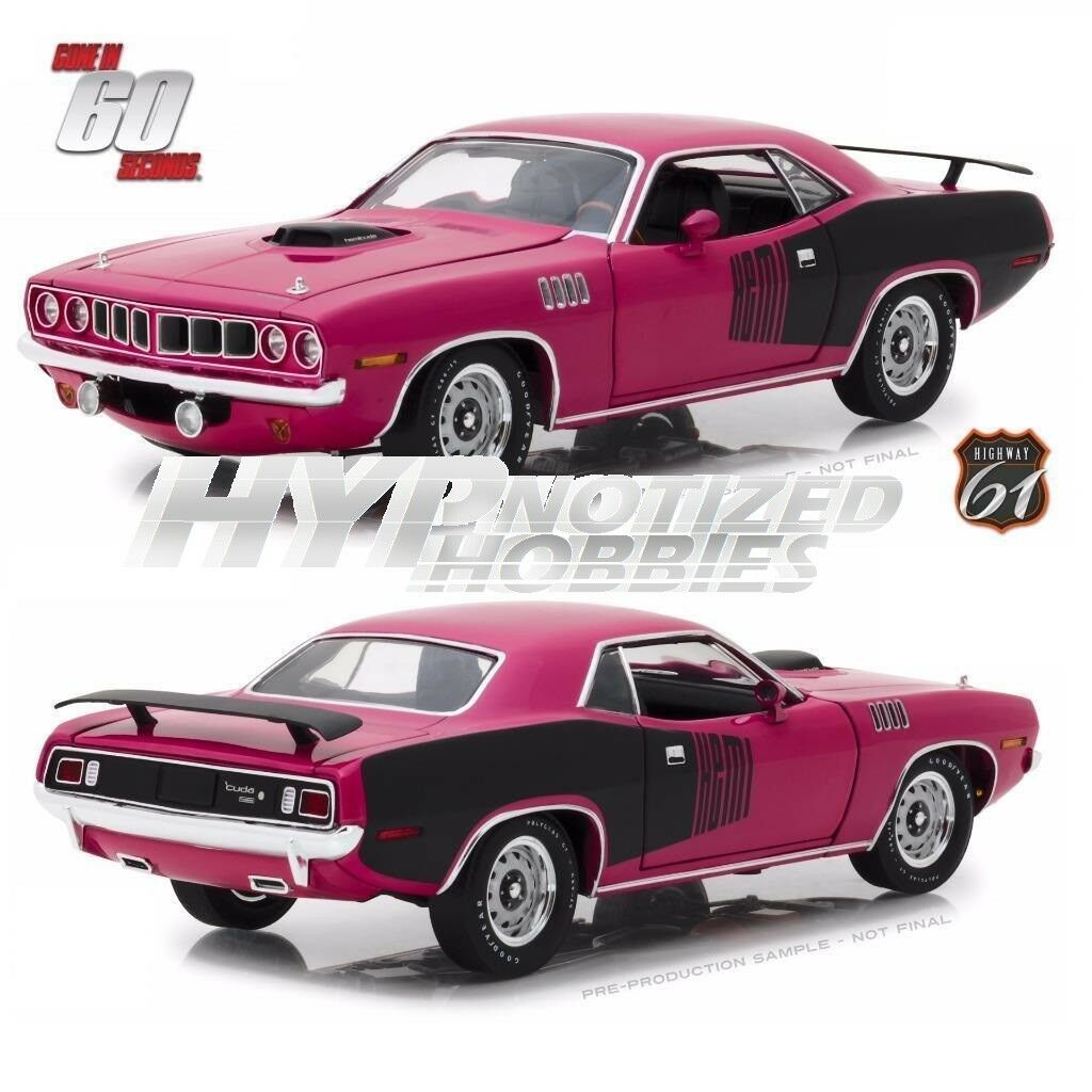 Highway 61 1 18 SHANNON'S 1971 Plymouth Hemi Barracuda Moulé Rose 18010