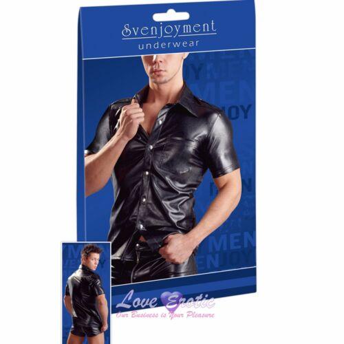 Svenjoyment Uomo Nero Imitazione Pelle Manica Corta Camicia GLUB Gay Clothing
