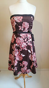 Size-16-Dress-COAST-Floral-Brown-Pink-Holiday-Party-Evening-0816