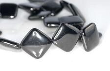 "20X20MM BLACK JET GEMSTONE ORGANIC DIAMOND SQUARE LOOSE BEADS 16"""