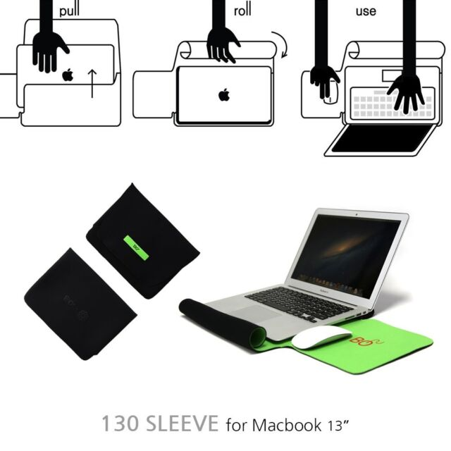 """Macbook Air Pro 13"""" Neoprene Sleeve Pouch Bag Case Cover Mouse Pad Wrist Black"""