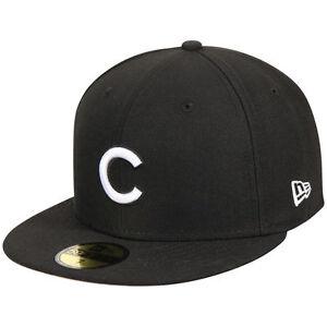 New Era 5950 CHICAGO CUBS Fitted Cap Black White MLB Baseball Hat  e94dd9009a2