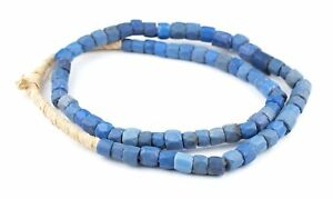 Faceted-Russian-Blue-Glass-Trade-Beads-10mm-Ghana-African-Large-Hole-Handmade