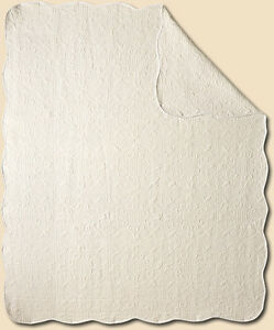 Vintage-Design-White-All-Cotton-Quilt-Throw-Cover-Up-50-034-Wide-X-60-034-Long