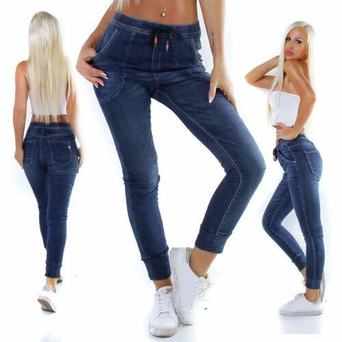 11281 Coole Damen Jeans Hose Boyfriend Haremsjeans Gummibund Jogg-Style Pants