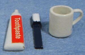 Dolls House Miniature 1/12th Scale Toothpaste, Brush and Mug Set
