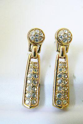 Elegant Swarovski Crystal Clear gold tone drop dangle  earrings