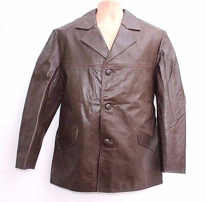Efficiente Men's True Vintage Lunghezza All'anca Marrone 100% Vera Pelle Giacca Cappotto Taglia L/xl-