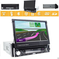"Single 1 Din 7"" In Dash Car Stereo GPS Touch Screen CD DVD Player Bluetooth USB"