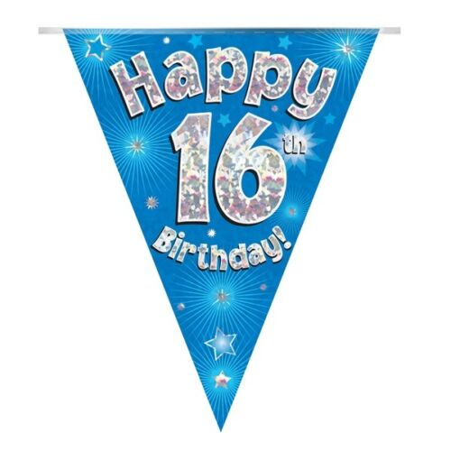 Blue Stars Holographic Happy 16th Birthday BuntingFlag BannerDecoration