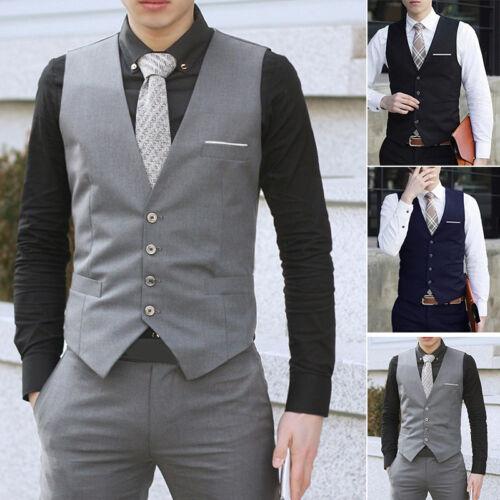 Herren Weste Mantel Formell Anzug Smoking Lässig Hochzeit Baumwollmischungen