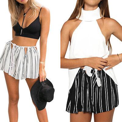 Women Summer Hot Pants Casual Shorts High Waist Short Beach Pants Stripe Trouser