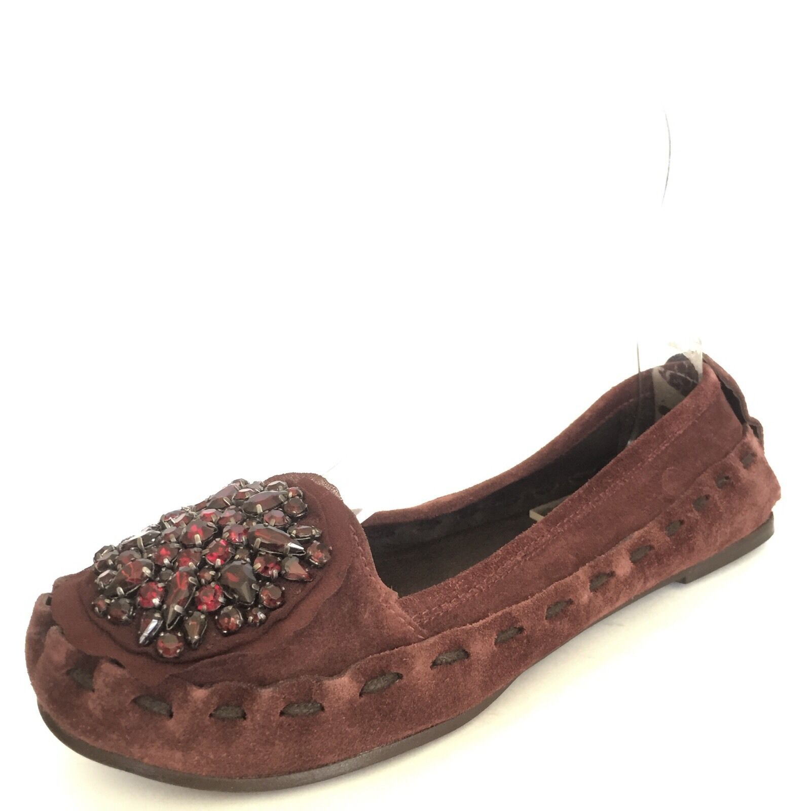 Vera Wang HOPE Women's Jewel Cluster Suede Burgundy Suede Cluster Ballet Flats Shoe Size 6.5 M 5a96f6