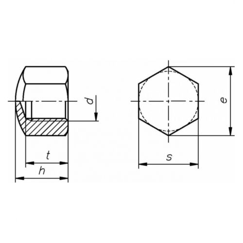 M 6 niedr Form verzinkt farblos Stahl galv 10x DIN 917 Sechskant-Hutmutter