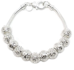 925-Sterling-Silver-Snake-Chain-Link-7-034-Bracelet-And-Elegant-Beads-GiftPkg