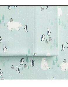 "Cuddl Duds ""Arctic Critters"" Heavyweight Flannel Twin Sheet Set Mint Green - NE"