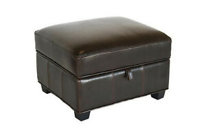 Storage-Ottoman-Padded-Dark-Brown-Leather-Cube-Square-Flip-Top