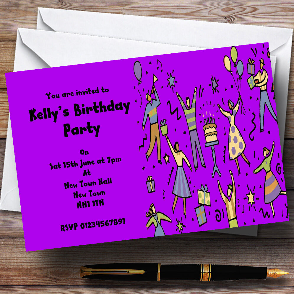 lila Dancing People Personalised Party Invitations