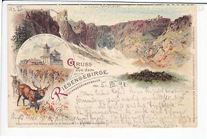 SCHLESIEN-LITHO-RIESENGEBIRGE-SCHNEEGRUBENBAUDE-1898