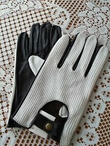 Stylish-Mens-Black-White-Soft-Leather-Driving-Gloves-From-Lorenz-New-L