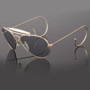 Mens-Retro-Vintage-Classic-Fashion-Designer-Aviator-Sunglasses-GOLD-Circle-Edge
